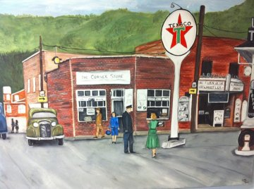 An artist's rendering of the Corner Store adorns my law office.  This was done from an old photo.